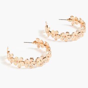 J. CREW Floral Pansy Hoop Earrings NWT